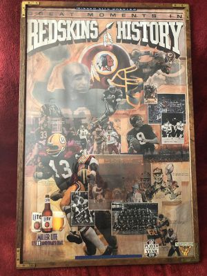 1984 Collectible Poster Miller Lite Salutes Great Moments in Redskins History for Sale in Alexandria, VA
