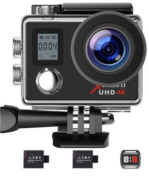 New — Campark Action Camera 4K WiFi Ultra HD Sports Cam Underwater Waterproof 30M 170°Wide-Angle Lens with Remote Control 2 Recharge Batteries and Mo for Sale in Chino Hills, CA