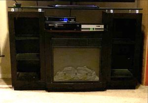 Electric Chimney tv stand entertainment center fireplace with shelf and glass top heater heated for Sale in Chandler, AZ