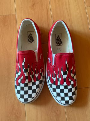 Black and white checkered vans with red dripping down for Sale in Lake Lure, NC