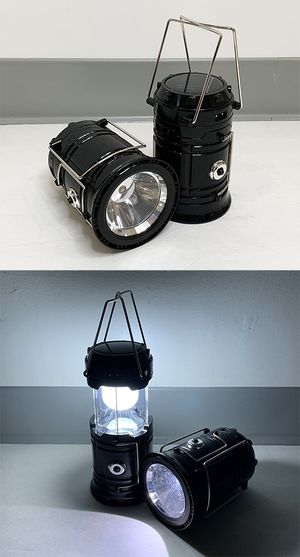 New $10 (Pack of 2) Camping Light Flashlight Lantern Lamp Solar Charging or Adapter for Sale in South El Monte, CA
