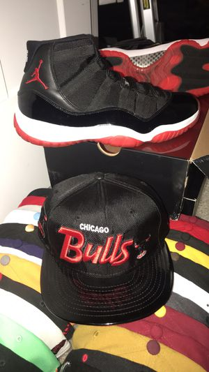 Jordan 11 Playoff Bred Size 11 comes with matching hat for Sale in Germantown, MD