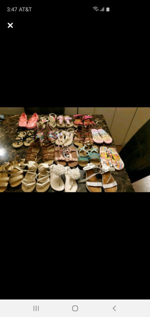 17 pairs of sandals and summer shoes from childrens place, justice, carters for Sale in Chicago, IL