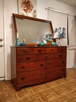"""Solid wood dresser with 11 drawers & big mirror in good condition all drawers working well,dovetail drawers, pet free smoke free. L56""""*W18""""*H34"""" for Sale in Annandale, VA"""