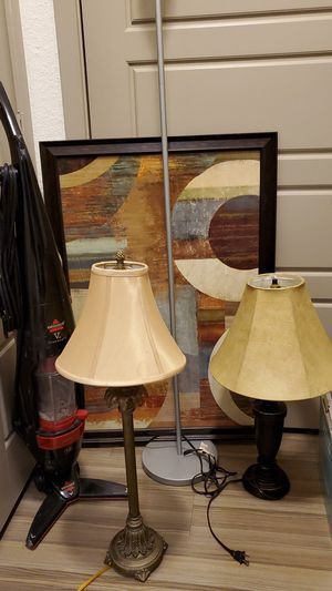 3 lamps, art frame, vacum, shelf $10 for Sale in Flower Mound, TX
