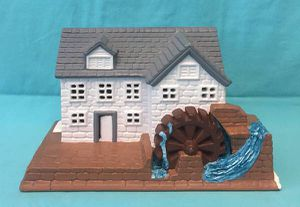 Vintage ceramic grist mill with water wheel house for Christmas village for Sale in Phoenix, AZ