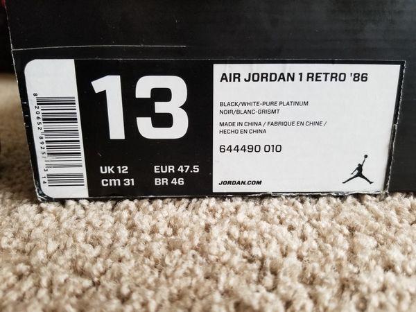 Air Jordan retro 1 86 Size 13 M