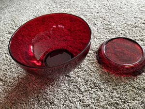 2-piece Red Glass Punch Bowl for Sale in Tinley Park, IL