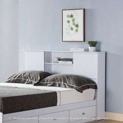 NEW,FULL BOOKCASE HEADBOARD BED WITH 3 DRAWERS,WHITE, SKU#TCY5001F for Sale in Westminster,  CA