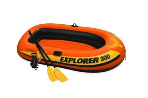 K INTEX EXPLORER 300, 3-PERSON INFLATABLE BOAT SET WITH FRENCH OARS AND HIGH OUTPUT AIR PUMP for Sale in San Diego, CA