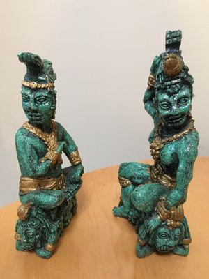 Two malachite Mayan figurines for Sale in Hinsdale, IL