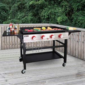 Royal Gourmet GB4000 36-inch 4-Burner Flat Top Propane Gas Grill Griddle, for BBQ, Camping, Red for Sale in Lemont, IL