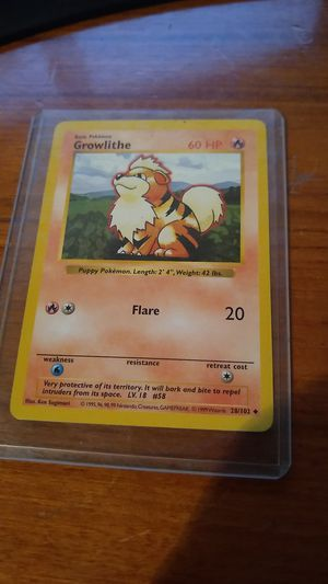 Basic Pokemon Growlithe Shadowless Rare 28/102 for Sale in Alhambra, CA