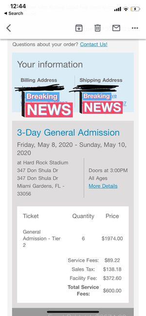 Rolling loud ticket for Sale in Miami, FL