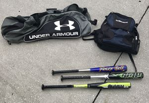 Baseball backpack, equipment bag and 3 bats for Sale in Lutz, FL