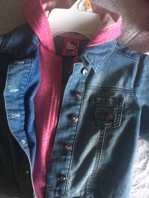 Light blue jean jacket with pink hood for Sale in Boston, MA