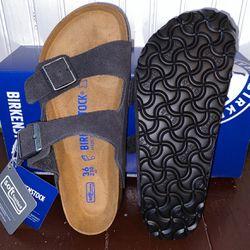 Brand New Arizona Soft Footbed Velvet Grey Birkenstocks, Size 36 Reg. for Sale in Frederick,  MD