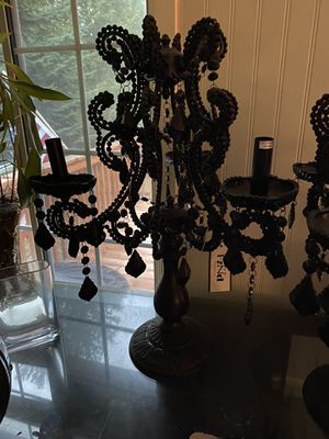 Pair of black chandelier style lamps, brand new, 22 inches tall for Sale in Tacoma, WA