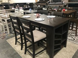 5 PC Counter Height Dining Set, Rustic Brown for Sale in Fountain Valley, CA