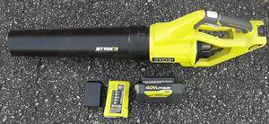 Ryobi 40-volt Jet fan leaf blower kit for Sale in Greenville, SC