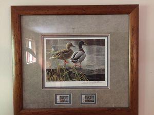 Canadian wildlife habitat conservation print w Stamps framed for Sale in Minocqua, WI