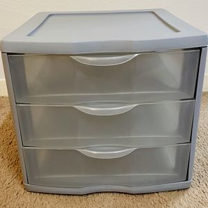 Small Grey Sterilite 3 Drawer Plastic Home Office Desktop Storage Organizer for Sale in Raleigh, NC