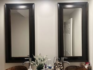2 Espresso wood wall mirrors /$25 each or both $40!! for Sale in Davie, FL