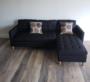 Brand New Black Linen Sectional Sofa Couch for Sale in Chevy Chase, MD
