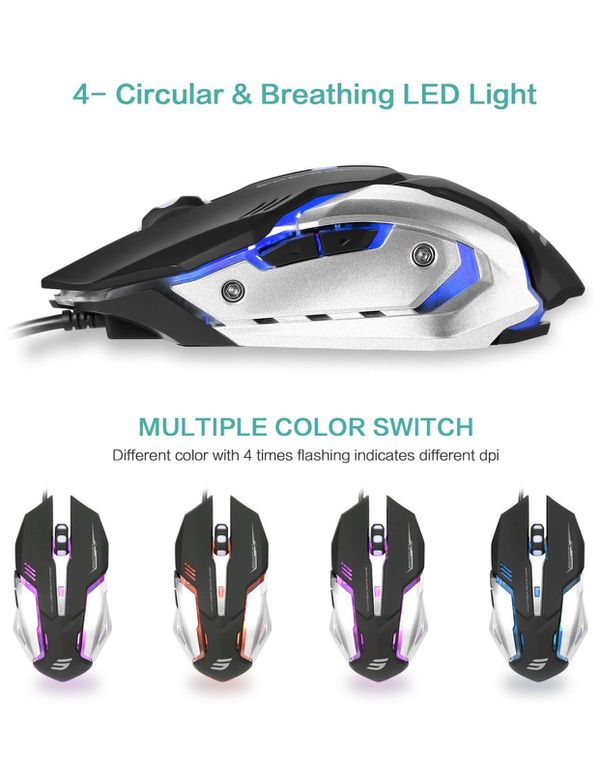 94125d3cac1 LINGYI Wired Gaming Mouse, 4 Adjustable DPI Levels, 6 Programmable ...
