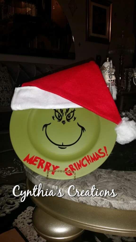 Custom Grinch holiday decoration plate