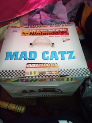 Mad Cats analog streeting wheel for Nintendo 64 with foot petals for Sale in Kent, WA