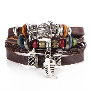 Unisex Multi Layer Leather Bracelet-Brown- Owl 🦉/ Fish 🐠 for Sale in Houston, TX