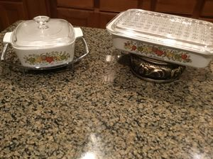 Corningware Spice of Life Casserole and Rare Small Lasagna/Refrigerator Box with Glass Lid for Sale in Spring, TX