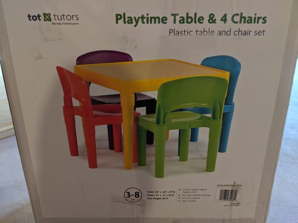 Toy Tutors Snap-Together 5-piece Table and Chair Set in Vibrant Multicolor