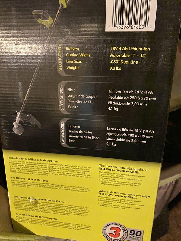 Ryobi 18v string trimmer kit