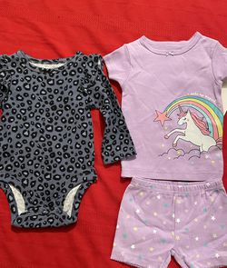 Infant Girls Onesie And Unicorn Short Set 6m New for Sale in Victorville,  CA