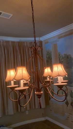 Bronze wrought iron chandelier with shades for Sale in San Diego, CA