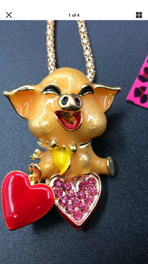Betsey Johnson 3 d resin China piggy Sweet animated necklace on a gold chain 3 inches great gift for Sale in Northfield, OH
