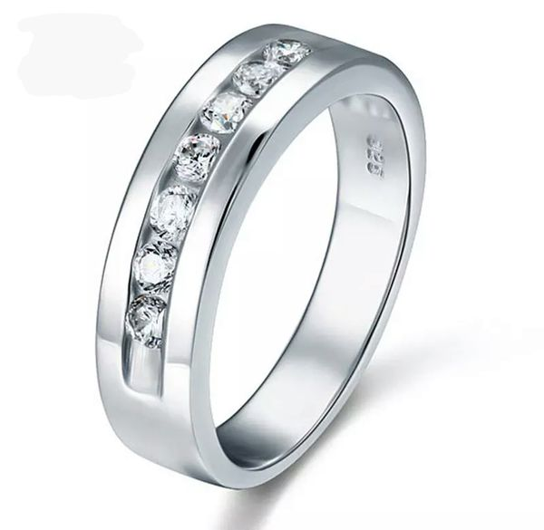 Round Cut Men's Bridal Wedding Band Solid 925 Sterling Silver Ring