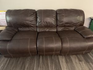 Faux Leather Couch with Double-Sided Extended Leg Rest for Sale in Englewood, CO