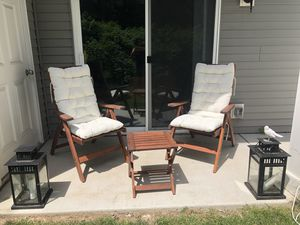Set 2 reclining chairs, side table, 2 morrocan lamps for Sale in Buffalo, NY