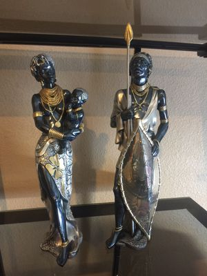 "ART Made in Italy Wonderful Unique African Statues Couple Woman with Child and Man Collector Collection   Material : Silver 925  High 14"" Sold in for Sale in Las Vegas, NV"