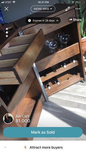 Walnut wood original expanding founders bar cart for Sale in West McLean, VA