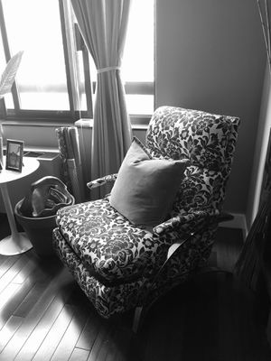Polished Steel base Chair Recliner, Black and white fabric print upholstered for Sale, used for sale  New York, NY