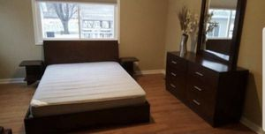 Queen size bed frame with two night stands,dresser and mirror for Sale in Savage, MN