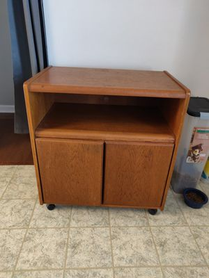 Old wooden microwave cart (or TV stand) with storage for Sale in Murfreesboro, TN