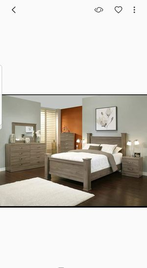 BRAND NEW 4 PC QUEEN SIZE BEDROOM SET BED DRESSER MIRROR NIGHTSTAND NEW FURNITURE ADD MATTRESS AVAILABLE USA MEXICO FURNITURE for Sale in Montclair, CA