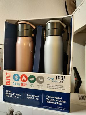 Built NY Slide Lock 24oz Stainless Steel Bottle, 2-pack for Sale in Tustin, CA