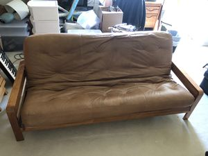 Leather futon couch / bed for Sale in Los Angeles, CA