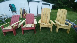 Picnic Tables with center hole for Umbrella and Adirondack Chairs for Sale in Port Crane, NY